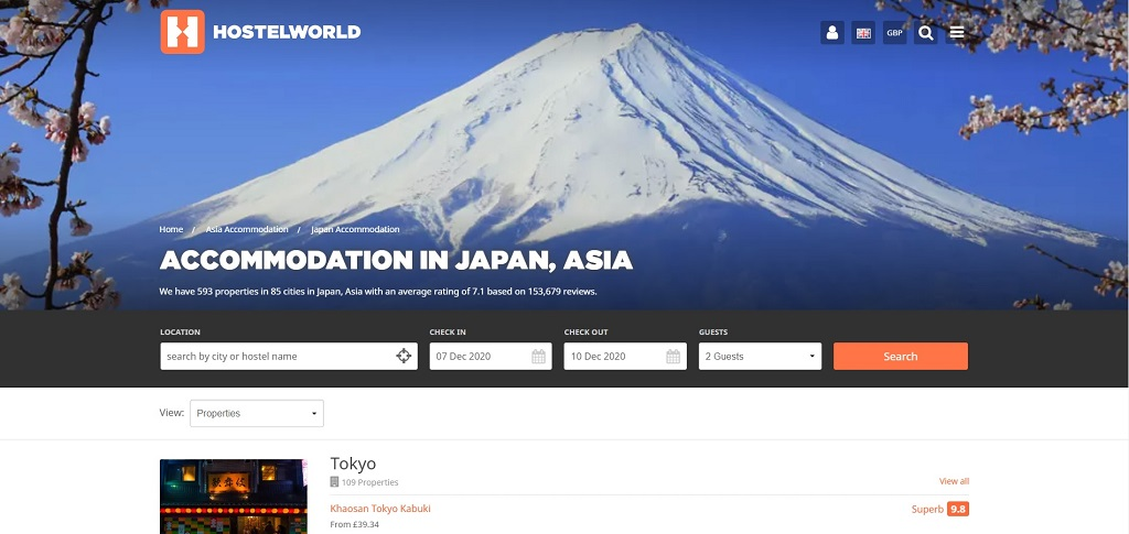 Hostelworld site The Real Japan
